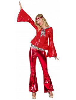 Disfraz Disco Años 70 Rojo para Mujer
