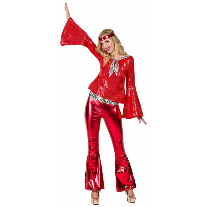 alta moda vendible precios increibles Disfraz Disco Años 70 Rojo para Mujer