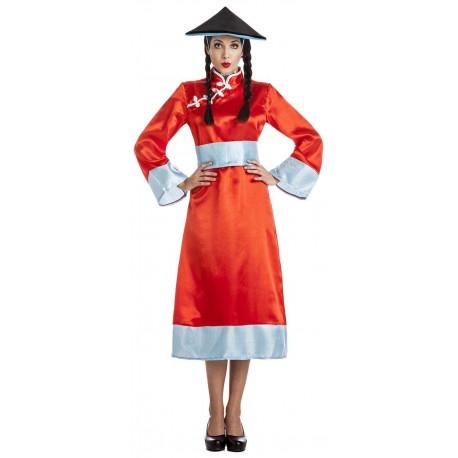 Disfraz de China con Sombrero para Mujer