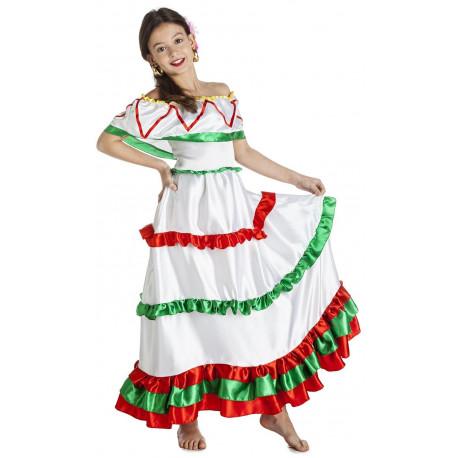 Disfraz de Mexicana Blanco para Niña
