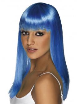 Peluca Azul Larga Lisa con Flequillo
