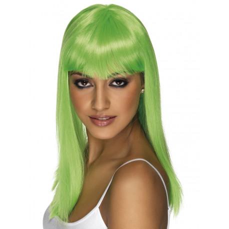 Peluca Verde Larga Lisa con Flequillo