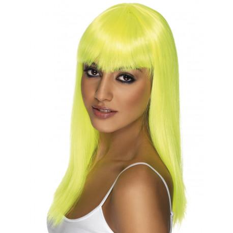 Peluca Amarilla Larga Lisa con Flequillo