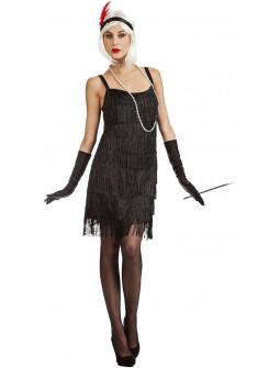 Disfraz de Charlestón Negro con Flecos para Mujer