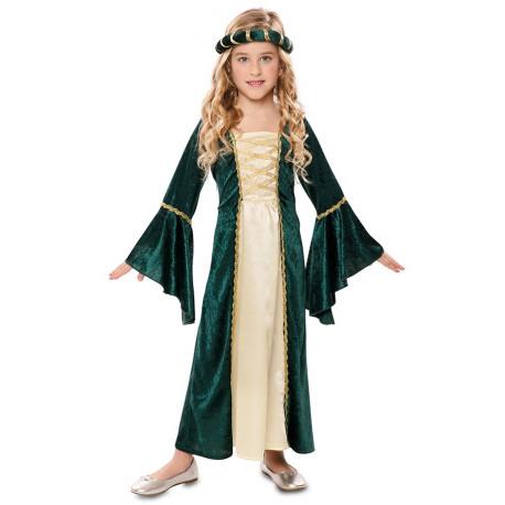 Disfraz de Dama Medieval Verde para Niña