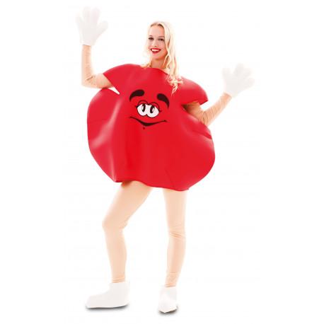 Disfraz de Caramalo m&m Rojo para Adulto