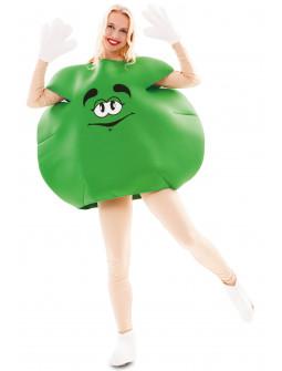 Disfraz de Caramelo m&m Verde para Adulto
