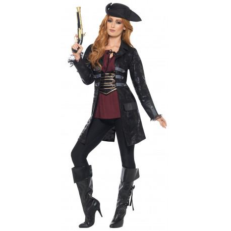 Chaqueta de Capitán Pirata Negra para Mujer