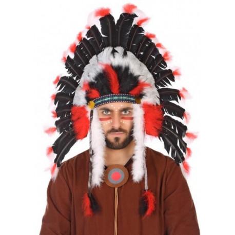 Penacho Indio con Plumas Negras, Rojas y Blancas