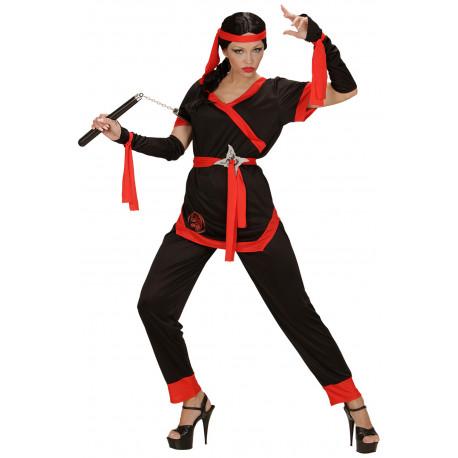 Disfraz de Ninja Negro y Rojo para Mujer