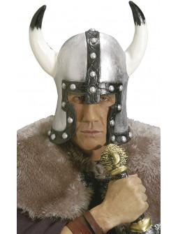 Casco de Vikingo Plateado de Látex Premium