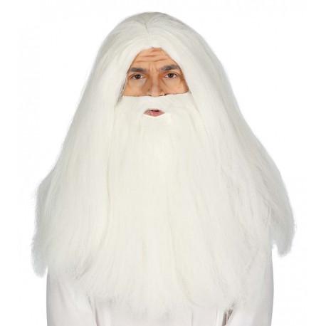 Peluca Blanca Larga con Barba Larga