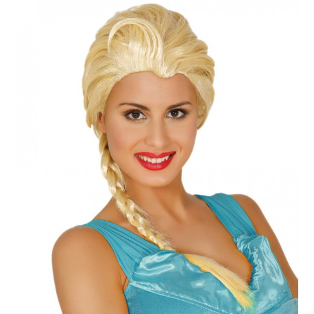 Peluca de Elsa de Frozen Rubia con Trenza