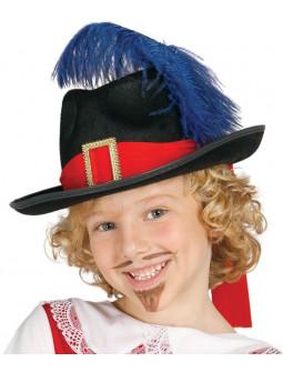 Sombrero de Mosquetero Rojo y Negro Infantil