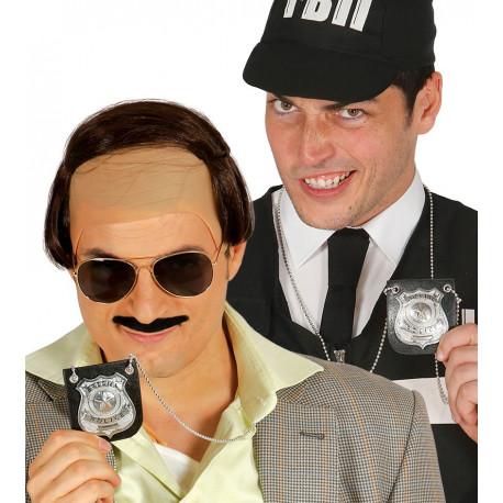 Placa de Policía Metálica con Cadena