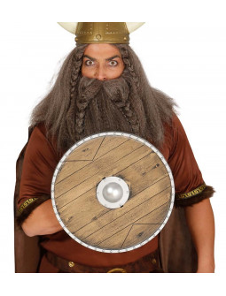 Escudo Vikingo Redondo Efecto Madera