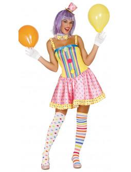 Disfraz de Payasa con Mini Chistera para Mujer