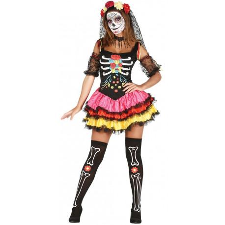 Disfraz de Catrina Colorida para Mujer