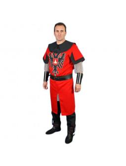 Traje Medieval Rojo con Águila Bicéfala para Hombre