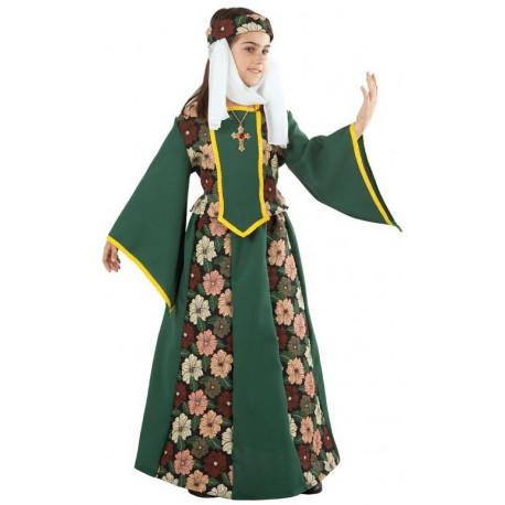 Disfraz de Marquesa Medieval Verde para Niña