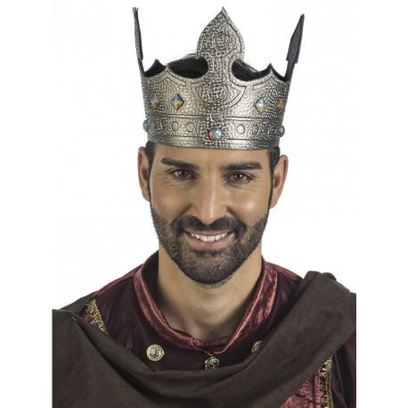 Corona de Rey del Medieval Plateada para Adulto