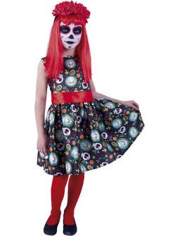 Disfraz de Catrina con Diadema para Niña