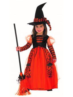 Disfraz de Bruja Naranja con Brillos para Niña