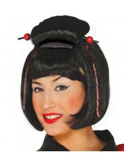 Peluca de Geisha Japonesa Morena