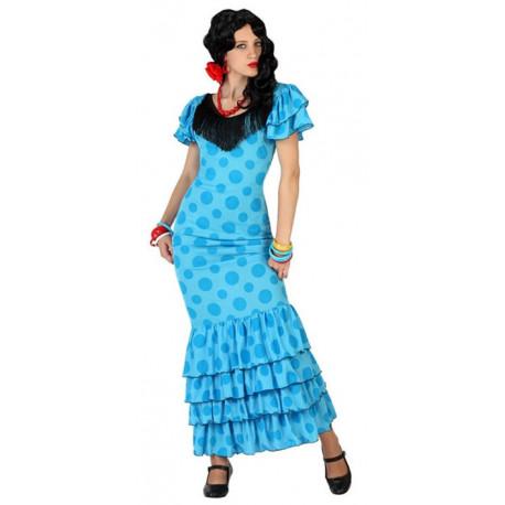 Disfraz de Flamenca Azul con Lunares para Mujer