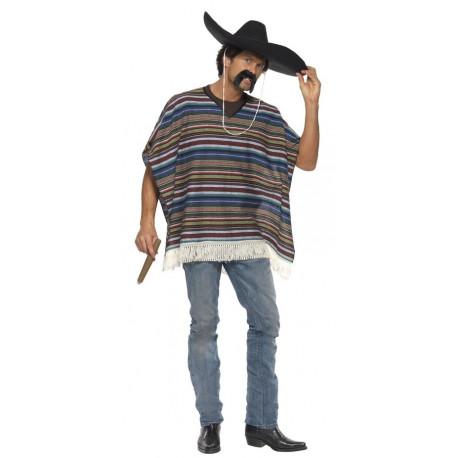 Poncho Mejicano a Rayas para Adulto