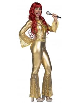Disfraz Disco Dorado con Lentejuelas para Mujer