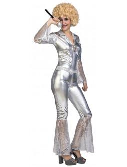 Disfraz Disco Plateado con Lentejuelas para Mujer