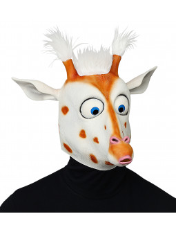 Máscara de Jirafa de Látex con Pelo
