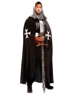 Capa Medieval Negra de Caballero Hospitalario