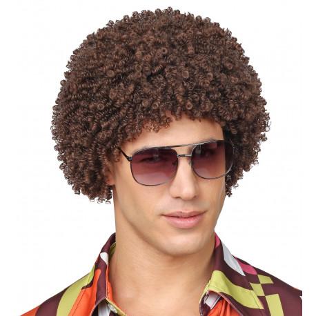 Peluca Disco Castaña Estilo Afro