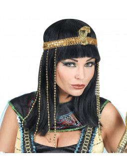 Peluca de Faraona Egipcia Morena con Cinta Dorada