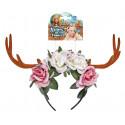 Diadema de Flores Rosas y Blancas con Cuernos
