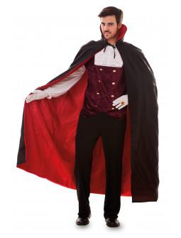 Capa  de Vampiro Negra con Forro Rojo para Adulto