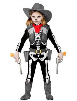 Disfraz de Vaquera Esqueleto para Niña