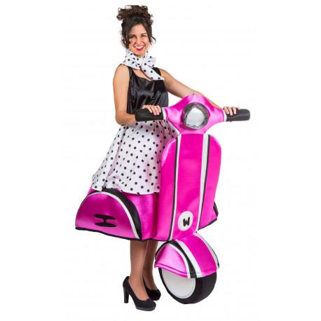 Disfraz de Chica Años 50 en Vespa Rosa para Mujer