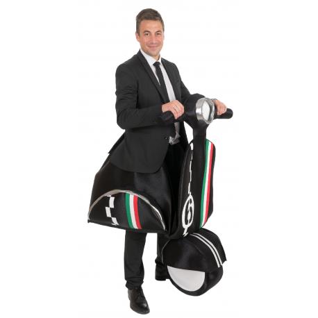Disfraz sobre Moto Vespa Negra para Adulto