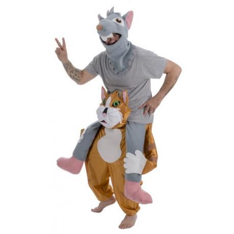Disfraz de Ratón a Hombros de Gato para Adulto