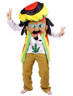 Disfraz de Rastafari Cabezón con Porro para Adulto