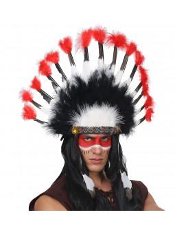 Penacho Indio con Plumas Blancas, Rojas y Negras