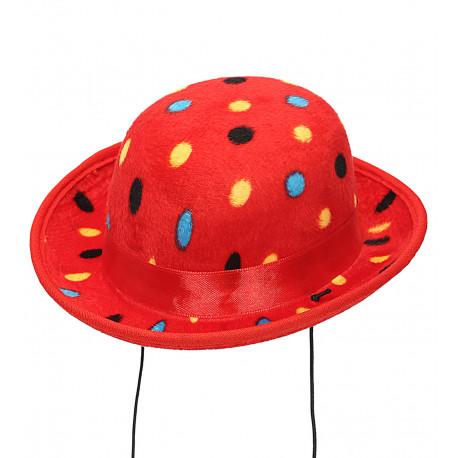 Mini Bombín de Payaso Rojo con Lunares