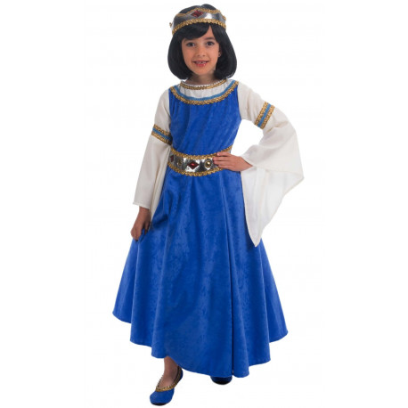 Disfraz de Reina Medieval Azul para Niña