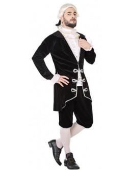 Disfraz de Cortesano de Época Negro para Hombre