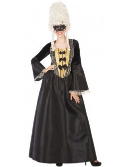 Disfraz de Cortesana de Época Negro para Mujer