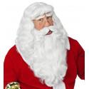 Peluca Blanca de Papá Noel con Bigote y Barba Larga