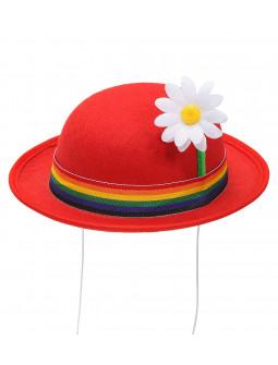 Mini Bombín de Payaso Rojo con Flor